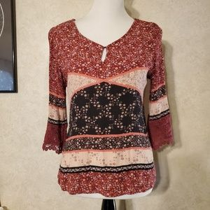 Patchwork peasant style top